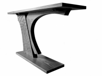 Breaking Wave console table in solid walnut