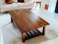 Bespoke walnut coffee table with entwined lines in sycamore