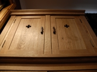 Gothic bedroom cabinet in solid oak with antique brass handles and hinges