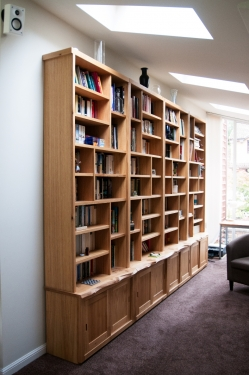 Oak Bookcases with cupboards