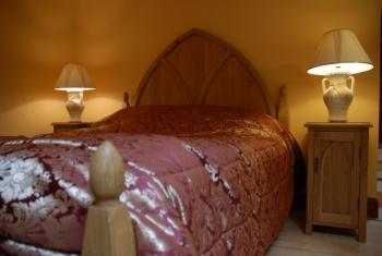 Oak bed, hand made in solid Scottish oak.