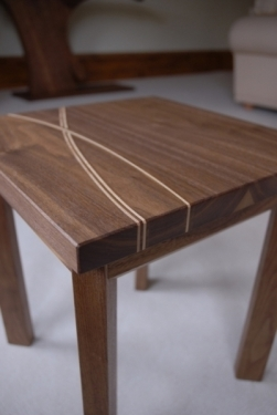 Bespoke side tables hand made in Scotland from solid walnut and Scottish sycamore.
