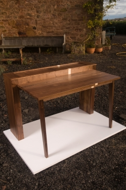 Bespoke walnut desk with blonde sycamore detailing