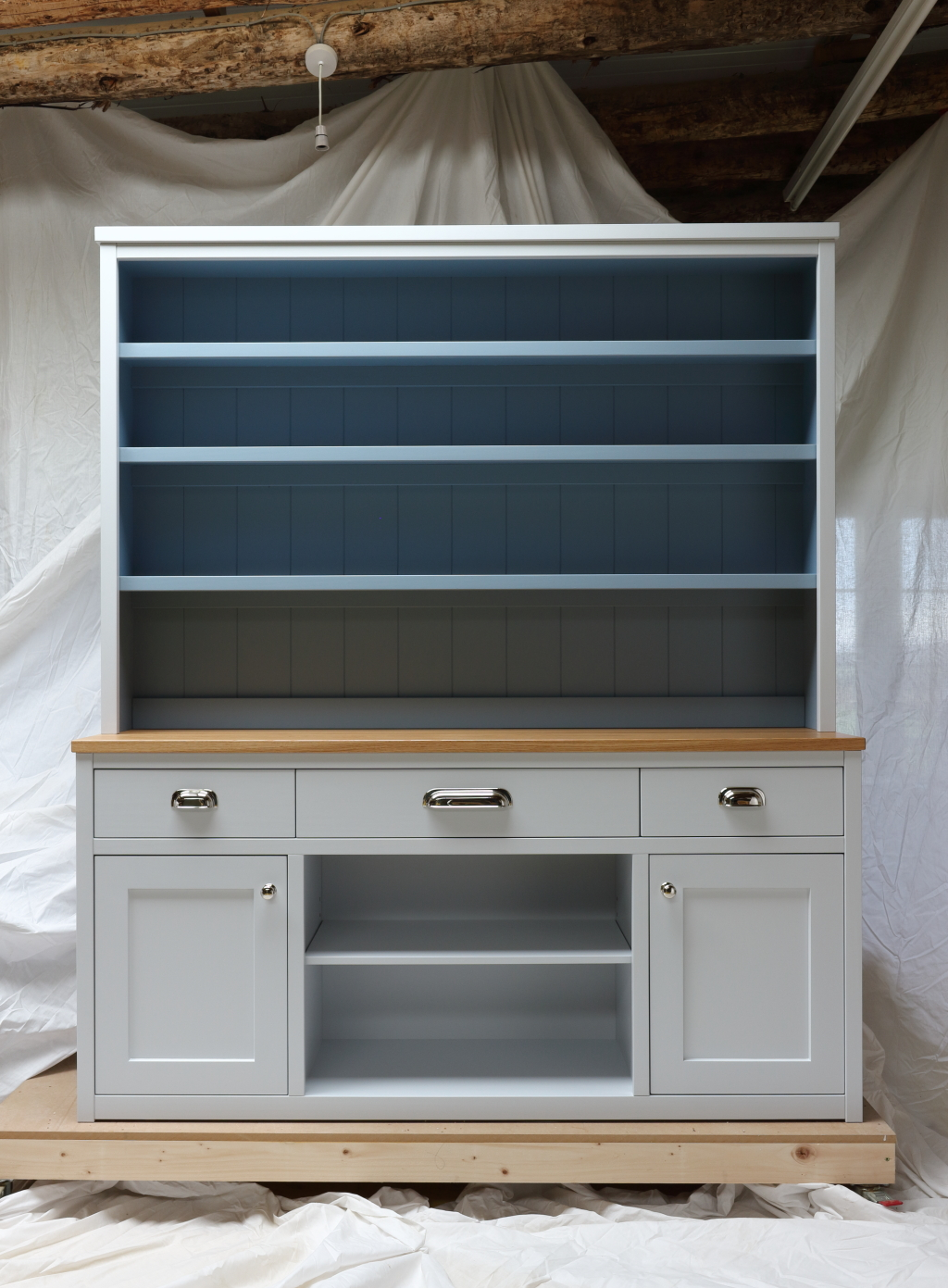 This large dresser was custom-designed and handmade in East Lothian, Scotland by The Edinburgh Dresser Furniture Company (part of Organic Geometry Furniture).